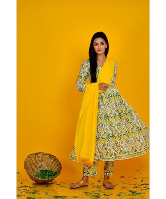 YELLOW BLOCK PRINT KURTA PANT SET WITH YELLOW DUPATTA