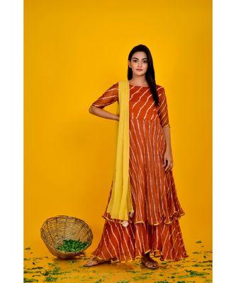 BROWN LEHERIYA DOUBLE LAYERED ANARKALI DRESS WITH DUPATTA