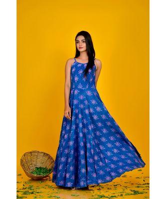 blue bagru print maxi dress