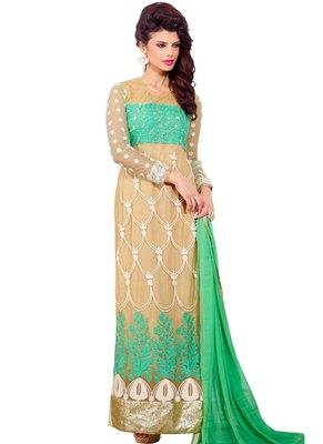 Beige embroidered Net unstitched salwar with dupatta