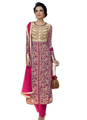 multicolor embroidered Crepe unstitched salwar with dupatta