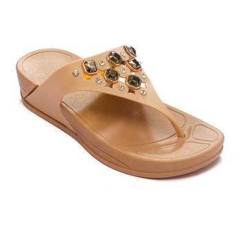 TRENDS & TRADES Tan Flip Flops Sandal For Women