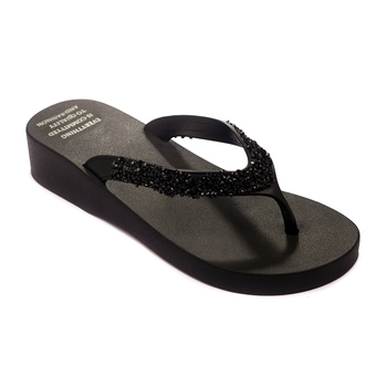 TRENDS & TRADES Black Thong Flip Flops For Women