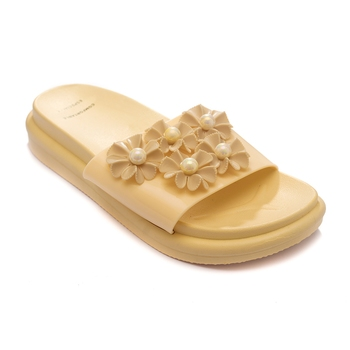 TRENDS & TRADES Golden Slide Sandal For Women