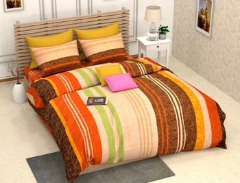 Ridan Multicolour Double Bed Sheet With Pillow Cover