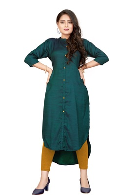 Pankh Dark Green Front Side short and Back Side Long Crepe Kurti KT-001