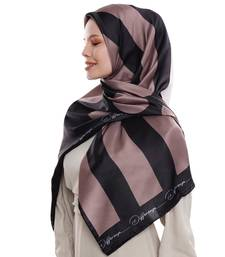 Justkartit Polka Dot Strips Printed Big Satin Silk Square Scarf Hijab