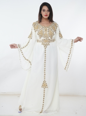 White embroidered georgette islamic-kaftans