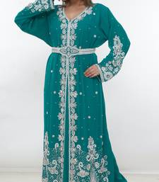 Light-green embroidered georgette islamic-kaftans