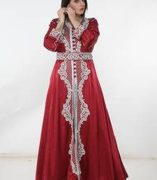 Red embroidered satin islamic-kaftans