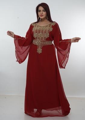 Dark-red embroidered georgette islamic-kaftans