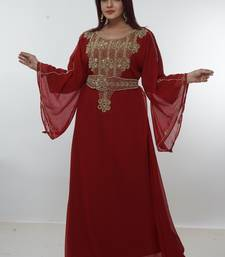 Dark-red embroidered georgette islamic-kaftans