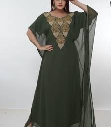 Dark-green embroidered georgette islamic-kaftans