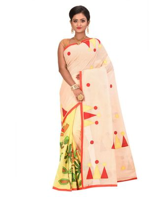 White Cotton Printed Tant Saree Without Blouse Piece