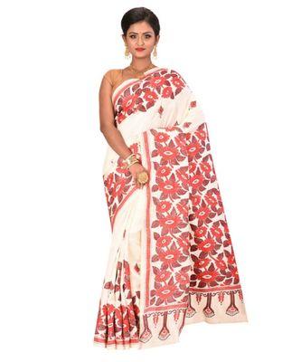 White Handmade Shantiniketan Pure Silk Kantha Stitched Saree With Blouse Piece