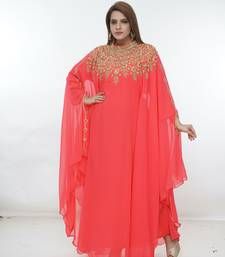 Coral embroidered georgette islamic-kaftans