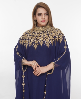 Navy-blue embroidered georgette islamic-kaftans