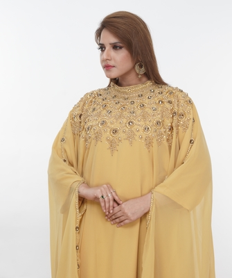 Light-yellow embroidered georgette islamic-kaftans