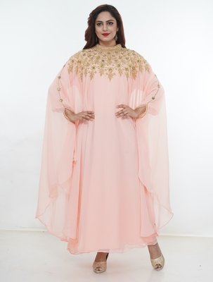 Baby-pink embroidered georgette islamic-kaftans