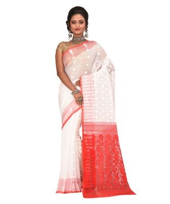 White Embroidered Jamdani Handloom Cotton Blend Saree  Without Blouse Piece