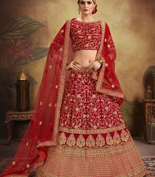 Maroon Heavy Thread embroidered velvet semi-stitched Bridal lehenga Choli for Wedding