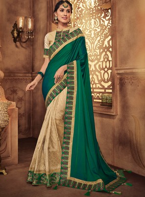 Dark parrot green embroidered silk saree with blouse