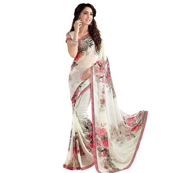 Blissta Women's Off White Georgette Floral Printed Saree