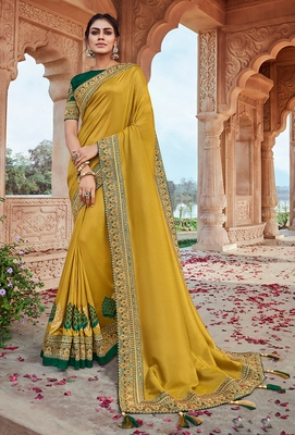 Lime embroidered satin saree with blouse