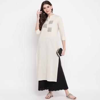 Women'S Printed/Solid Straight Slub Cotton Off White Kurti