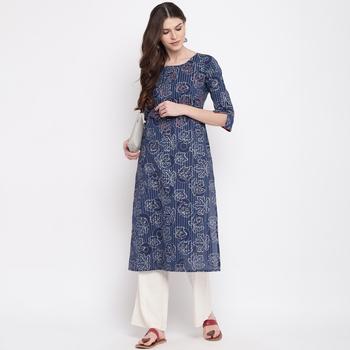 Women'S Foil Print & Hand Work Straight Cotton Blue Kurti