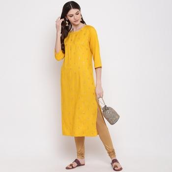 Women'S Solid & Sequence Work Straight Rayon Yellow Kurti