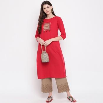 Women'S Embellished Straight Cotton Dark Red Kurti