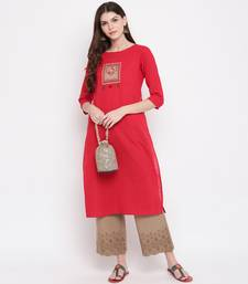 Women'S Embellished Straight Cotton Dark Red Kurti