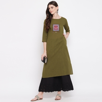 Women'S Embellished Straight Cotton Dark Green Kurti