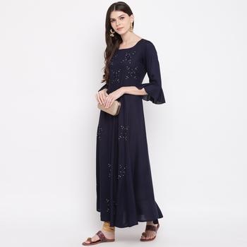 Women'S Embellished Flared Rayon Blue Kurti
