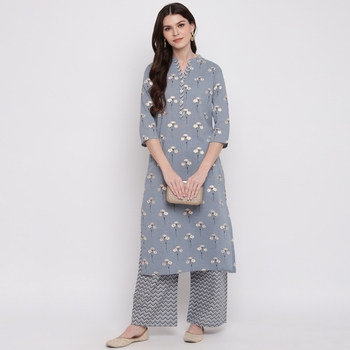 Women'S Foil Print & Floral Print Straight Cotton Grey Kurti With Palazzo