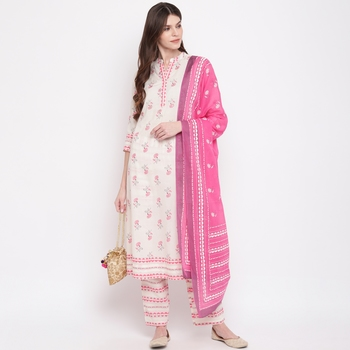 Women'S Floral Print & Embroidered A-Line Cotton White Kurti & Palazzo With Dupatta