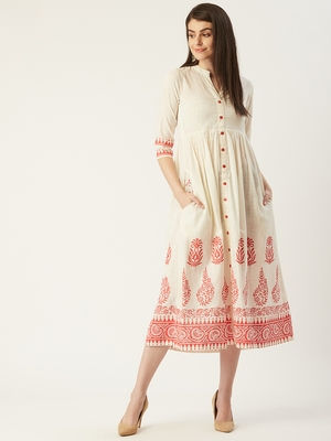 Pinksky Off-white woven cotton maxi-dresses
