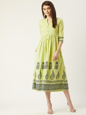 Pinksky Green woven cotton maxi-dresses