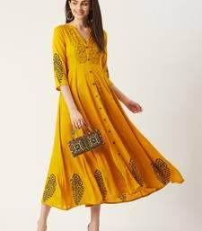 Pinksky Yellow woven viscose rayon maxi-dresses