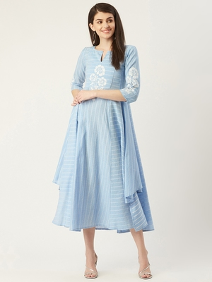 Pinksky Blue woven cotton maxi-dresses