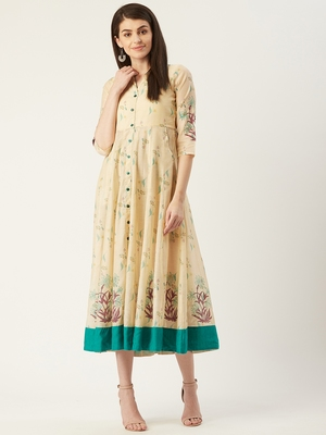 Pinksky Cream woven polyester maxi-dresses