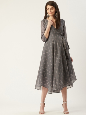 Pinksky Grey woven polyester maxi-dresses