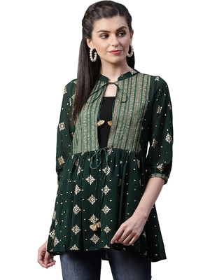 Green printed georgette tunics