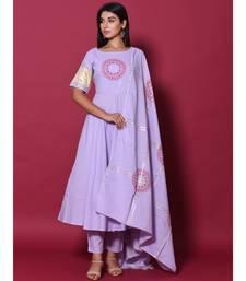 Purple block print cotton kurta sets