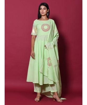 green block print cotton kurta sets