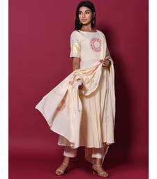 Beige block print cotton kurta sets