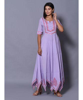 Purple block print cotton kurtis
