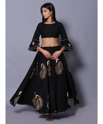 Black printed cotton readymade lehenga cholis