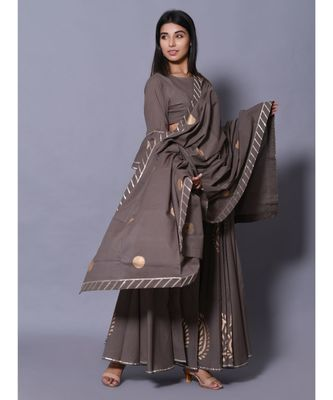 Grey printed cotton readymade lehenga cholis